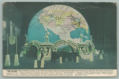 San Francisco CA~Pan-Pac Int Expo~The Globe~Palace of Transportation~Postcard