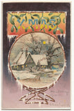 HTL Christmas~Snowy Country Cottage~Full Moon~Creek~Mistletoe~1905 Hold to Light