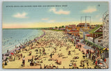 Old Orchard Beach Maine~Bathing Beach & Bathers @ Pier~1940s Postcard