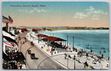 Revere Beach MA~Panorama Busy Pavilion~Vintage Cars Under Lightbulb Arches~1914