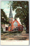 Waterbury Connecticut~Congregational Church~Fence Around Front Lawn~1915