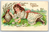 Victorian Easter~Girl on Grass~Hen & Chicks~Decorated Eggs~ASB GEL Germany~1910