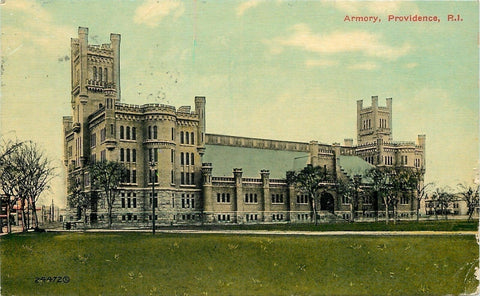 Providence Rhode Island~Battlements~National Guard Armory, Grounds 1911 Postcard