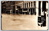 Logansport Indiana~4th Street Flood~Dewenter & Co~Shoe Store~Dry Goods~1913 RPPC