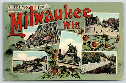 Milwaukee WI~Art Nouveau~Greetings~Sargent's Restaurant~Soldiers Monument 1909