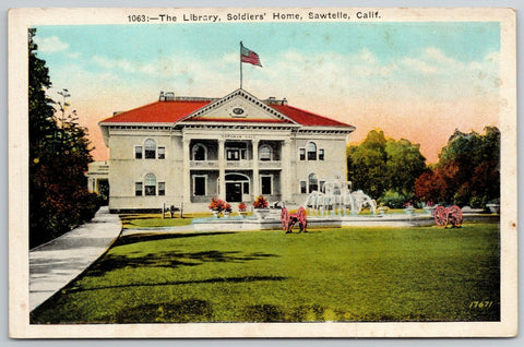 Sawtelle California~Markman Hall~Library at Soldiers Home~1920s Postcard
