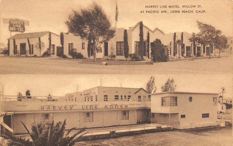 Long Beach CA~Harvey Line Motel~Willow Street @ Pacific Ave~ART DECO~1940s PC
