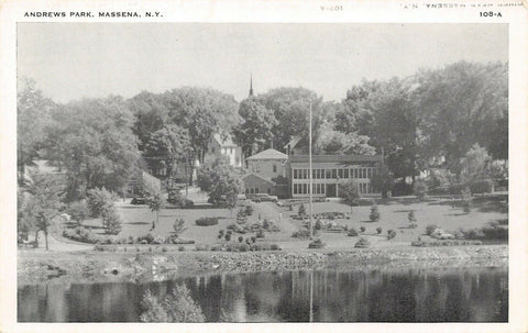 Massena New York~Andrews Park~View Across River~Homes~Church Steeple~1930s B&W