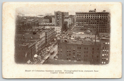 Columbus Ohio~Trio of Trolleys in Business District Rooftops~Vignette c1905 UDB