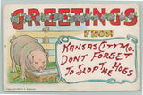 Kansas City Missouri Comic Greeting~Pig at Trough~Don't Forget to Slop Hogs~1909