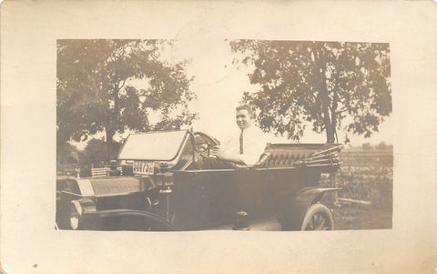 Fort Madison Iowa~Bernard in Vintage Auto~IA License Plate # 54475~1913 RPPC