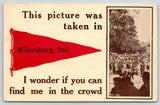 """Find Me in Crowd"" at Millersburg Indiana~Trotting Horse~1912 Pennant Postcard"