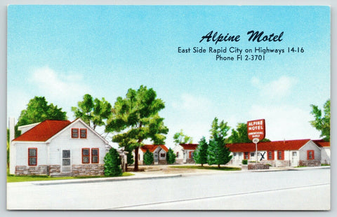 Rapid City South Dakota~Charles Hisek's Alpine Motel~X Marks Room~1963 Postcard