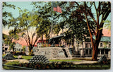 Stamford Connecticut~Homes Surround West Park Cannon Monument~American Flag~1908