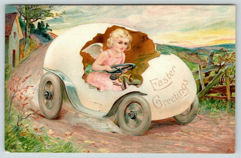 Easter Fantasy~Lil Pink Angel Girl Speeds Along Country Road in Egg Car~Emboss