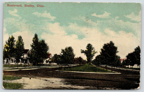 "Shelby Ohio~Homes on Both Sides of Boulevard~One of the ""Hightone"" Streets~1915"