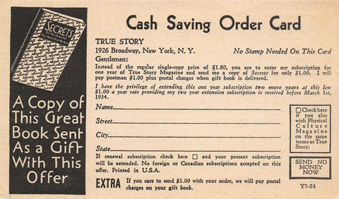 New York City Postal~True Story Mag Adv~Free Secrets Book~Physical Culture 1933
