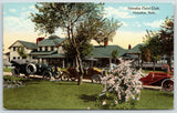 Omaha Nebraska~Omaha Field Club~Vintage Autos by Flowering Bush~c1910 Postcard