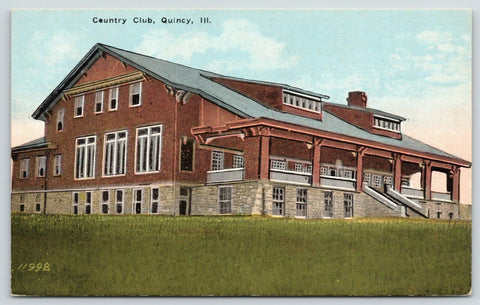 Quincy Illinois~Gargantuan Country Club w/Long Porch~Two Wide Dormers c1910 PC | Refried Jeans Postcards