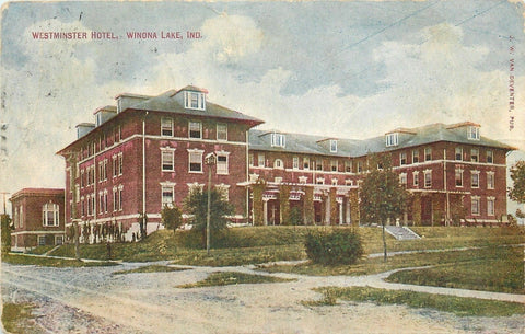Winona Lake Indiana~Westminster Hotel~Dirt Road~1910 Postcard | Refried Jeans Postcards