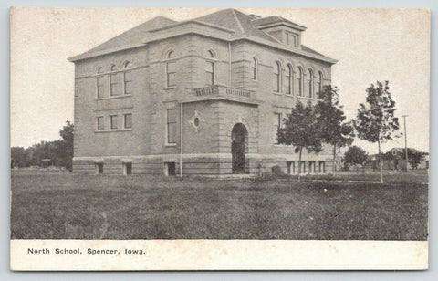 Spencer Iowa~North School~Arch Door~Stable Off to Side~1911 B&W Postcard