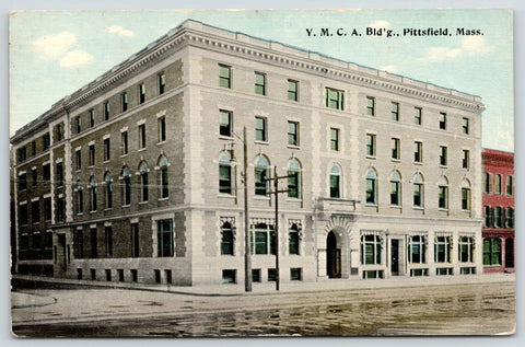 Pittsfield Massachusetts~YMCA Building~292 North Street~Puddles in Street~1913