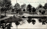 Reed City MI~Fish Hatchery~Small Arch Footbridge Over Pond #1~c1910 Bluesky