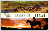 Sanderson Texas~Banner Greeting~Cowboy Sunset Silhouette~Cattle Cross Creek~1955