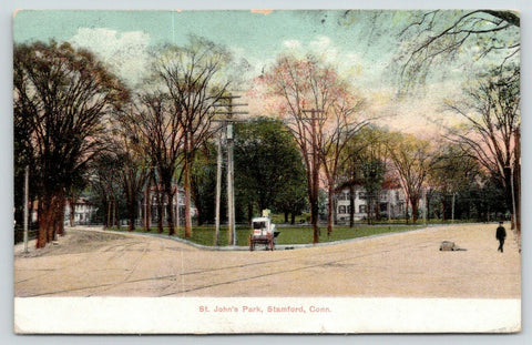 Stamford Connecticut~St John's Park~Delivery Wagon at Fork in Road~Lost Box~1907
