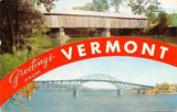 Vermont~Lake Champlain Bridge~Old Pulp Mill Bridge~1950s Banner Greetings
