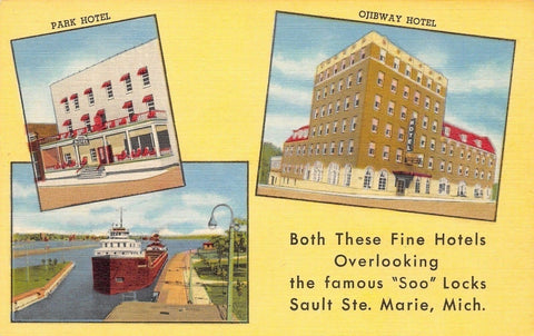 "Soo MI Deglman Hotels~Park & Ojibway~""Hay Fever Mecca of the World"" Linen 1954"