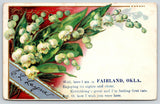 Fairland Oklahoma~Poem Greeting from CL Layne~Lily of Valley~Embossed 1909 PC