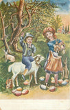 Easter~Country Children~Boy Rides Lamb~Girl Cuddle Bunnies~Color Eggs~Artist~UDB