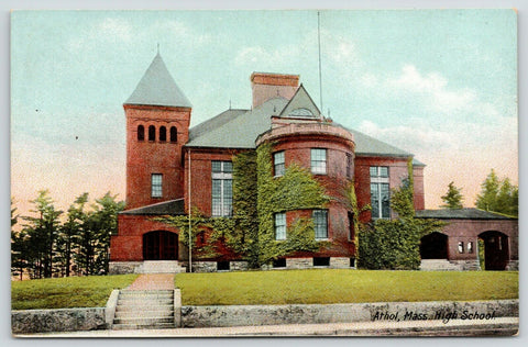 Athol Massachusetts~High School~Ivy Covered Round Tower~Steps From Sidewalk~1910