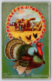 Thanksgiving Turkey on Hunter Green~Farmers Pitch Sheaves in Autumn Leaf Portal