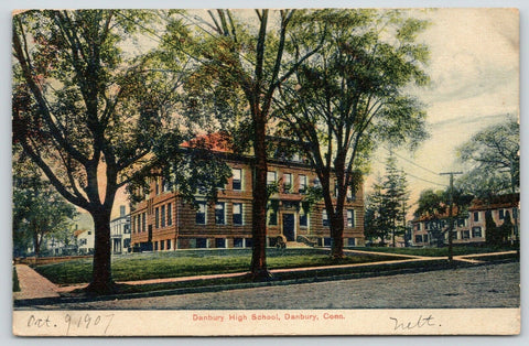 Danbury Connecticut~Danbury High School Neighborhood~1907 Postcard