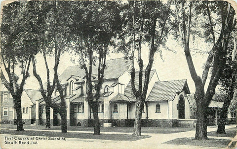 South Bend Indiana~First Church of Christ Scientist~1910 B&W Postcard