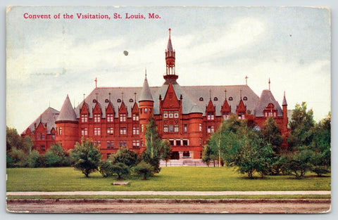 St Louis Missouri~Skinny Belfry~Towers & Dormers~Convent of Visitation~1911 PC
