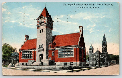 Steubenville Ohio~Carnegie Library~Clock Tower Gone Now~Holy Name Church~1918