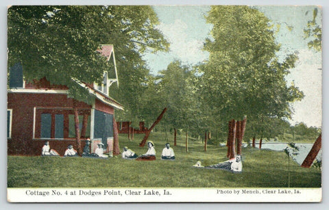 Clear Lake IA Man w/Fish & Pole~Gals w/Ties in Boat~Dog Poses, Too~Bay Side 1910