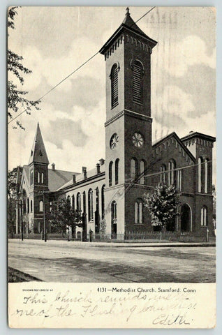 Stamford Connecticut~Methodist Church~Square Tower~1907 B&W Postcard