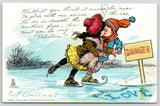 RF Outcault Valentine~Glide With Me Across the Ice~Love: Danger Sign~Ice Skaters