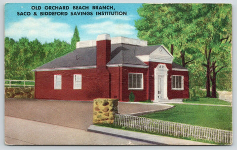 Old Orchard Beach Maine~Branch Bank~Saco Biddeford Saving Institution~1952 Linen