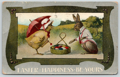 Easter Fantasy~Dressed Chick Haggles with Rabbit in Tux Over Colored Eggs~1909