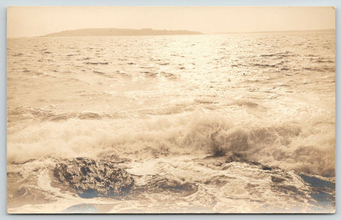 Boothbay Harbor Maine~Swirling Ocean Surf~Big Rock~Island~1930s HR McGregor RPPC