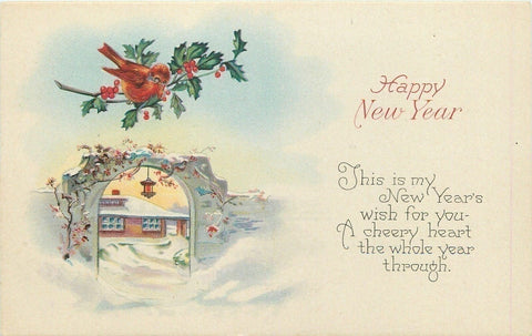 New Year~Fat Red Bird on Holly Branch~Lantern in Gate Arch Fence~Series 1273 C