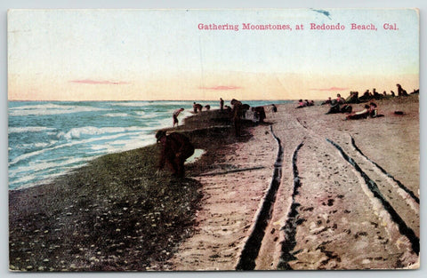 Redondo Beach California~People Gathering Moonstones Along Beach~1913