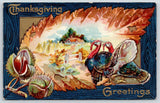 Thanksgiving~Turkey Tom & Hen Enter Autumn Leaf Portal to Farm~Acorns~1909 NASH