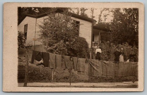 Lower Salem OH~Backwoods Family Ma Hangs Bibs, Blankets on Clothesline 1913 RPPC