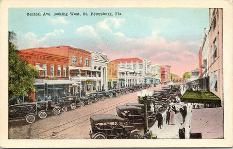 St Petersburg Florida~Central Avenue~Hardware Store~EAT Diner~DECO Co~1920s Cars | Refried Jeans Postcards